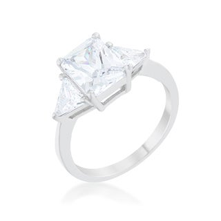 Kate Bissett Rhodium-plated Clear Cubic Zirconia Classic Engagement Ring - Red