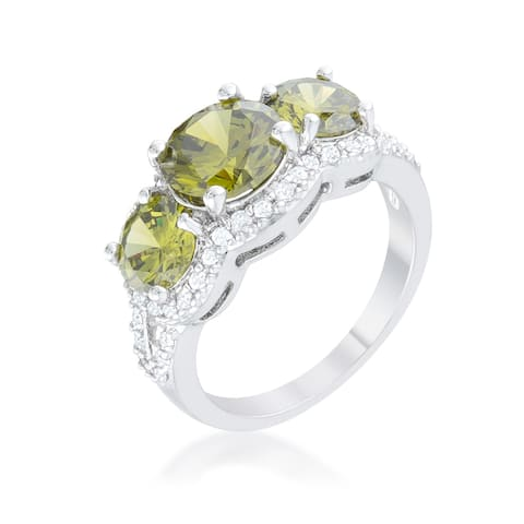 Kate Bissett Olive Classic Trio Ring - Green
