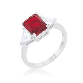 Kate Bissett Classic Ruby Rhodium Engagement Ring