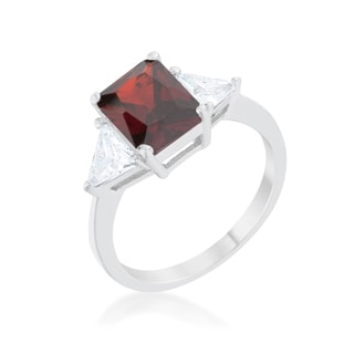 Kate Bissett Classic Garnet Rhodium-finish Engagement Ring