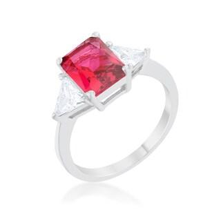 Kate Bissett Classic Fuchsia Rhodium Engagement Ring - Purple