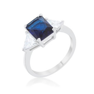 Kate Bissett Classic Sapphire Rhodium-finish Engagement Ring