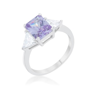 Kate Bissett Classic Lavender Rhodium Engagement Ring - Orange