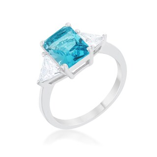 Kate Bissett Classic Blue Topaz Rhodium Engagement Ring - White