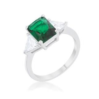 Kate Bissett Classic Emerald Rhodium Engagement Ring - White