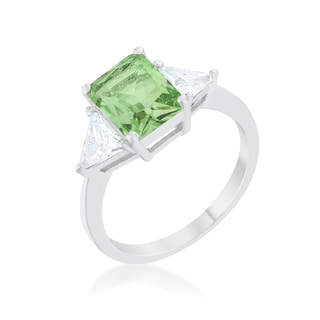 Kate Bissett Classic Peridot Rhodium Engagement Ring