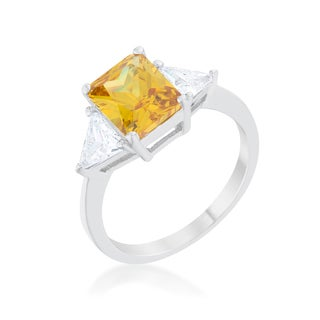 Kate Bissett Classic Canary Yellow Rhodium Engagement Ring