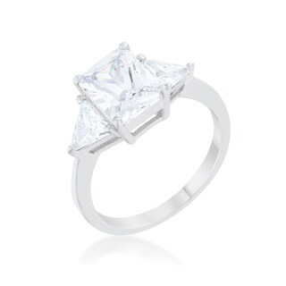 Kate Bissett Classic Clear CZ Sterling Silver Engagement Ring