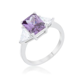 Kate Bissett Sterling Silver/Platinum Overlay Amethyst Classic Engagement Ring