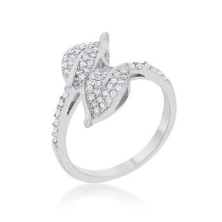 Kate Bissett Liana Rhodium 0.1-carat CZ Leaf Wrap Ring