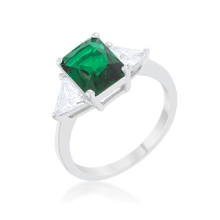 Kate Bissett Classic Emerald Green Sterling Silver Engagement Ring - Blue