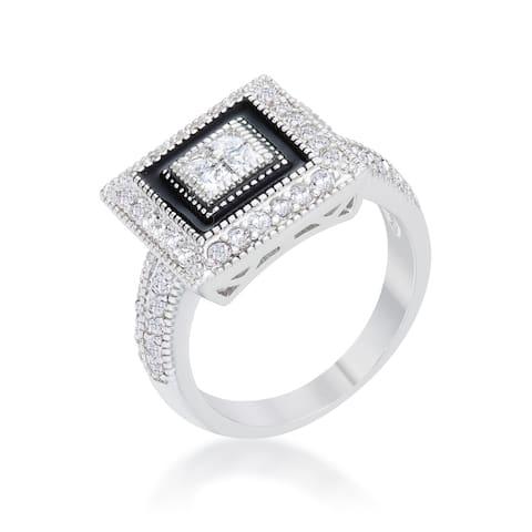 Kate Bissett Shira Rhodium 0.7-carat CZ Antique-style Ring - White