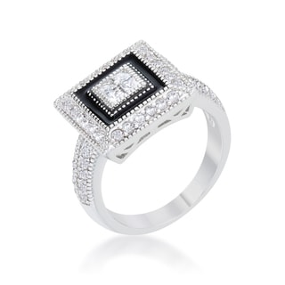 Kate Bissett Shira Rhodium 0.7-carat CZ Antique-style Ring - White