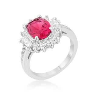 Kate Bissett Chrisalee White Platium-plated Brass 3-carat Aqua Cubic Zirconia Rhodium Classic Ring