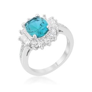 Kate Bissett Chrisalee 3-carat Aqua CZ Rhodium Classic Ring