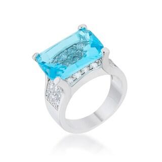 Kate Bissett Mina Rhodium 15.4-carat Aqua CZ Cocktail Ring