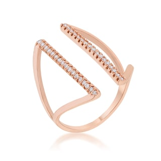 Kate Bissett Jena Rose Gold 0.2-carat CZ Delicate Parallel Ring - White