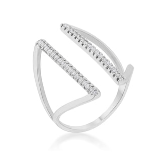 Kate Bissett Jena 0.2c-carat Cubic Zirconia Rhodium-plated Parallel Ring