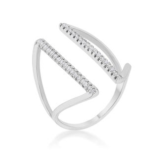 Kate Bissett Jena 0.2c-carat Cubic Zirconia Rhodium-plated Parallel Ring - White