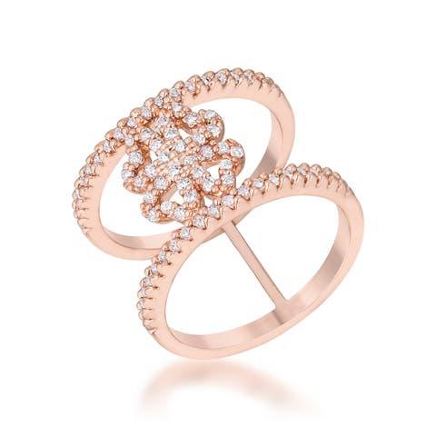 Kate Bissett Lauren Rose Gold 0.4-carat CZ Delicate Clover Wrap Ring - White