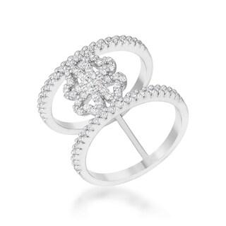 Kate Bissett Lauren 0.4-carat CZ Rhodium Delicate Clover Wrap Ring
