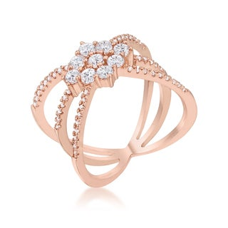 Kate Bissett Women's Mindy 0.8ct Cubic Zirconia Rose Gold Delicate Triple Wrap Ring - White