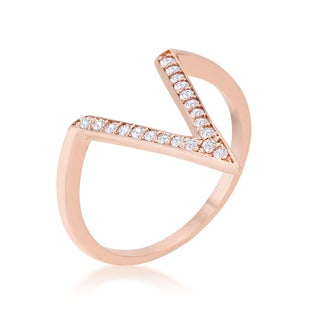 Kate Bissett Michelle 0.2ct Rose Gold Delicate V-Shape Ring - Red