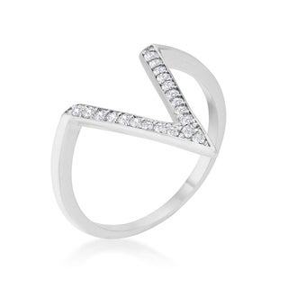 Kate Bissett Michelle 0.2-carat Cubic Zirconia Rhodium Delicate V-Shape Ring
