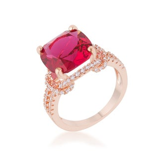Kate Bissett Charlene Rose-goldplated 6.2-carat Ruby Cubic Zirconia Classic Statement Ring