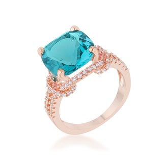 Kate Bissett Charlene 6.2-carat Aqua Cubic Zirconia Rose Gold Classic Statement Ring