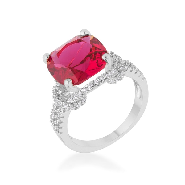 Kate Bissett Women's Charlene 6.2ct Ruby/Cubic Zirconia Rhodium Classic Statement Ring - White