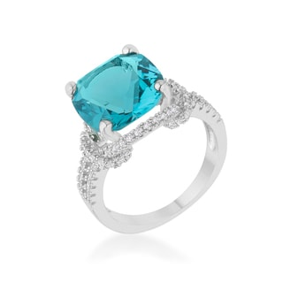 Kate Bissett Charlene 6.2ct Aqua Brass Cubic Zirconia Rhodium Classic Statement Ring
