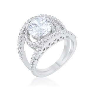 Kate Bissett Marcie 3 Carat CZ Rhodium Contemporary Ring Green