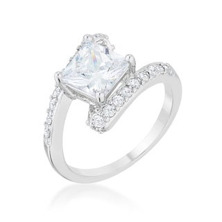 Kate Bissett Caroline 2.3-carat Cubic Zirconia Rhodium-finish Statement Ring