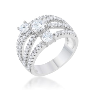 Kate Bissett Beatrice Rhodium 1.8-carat CZ Statement Ring