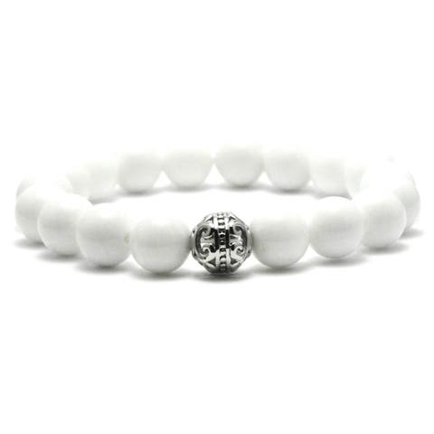 AALILLY Women's 10mm White Brass Natural Beads Stretch Bracelet