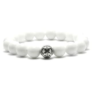 Link to AALILLY Women's 10mm White Brass Natural Beads Stretch Bracelet Similar Items in Bracelets