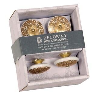 IntradeGlobal Ornate Ivory/ Gold Ceramic Filigree Knobs (Set of 2)