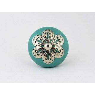 Turquoise Ceramic Silver Filigree Cabinet Knob Set