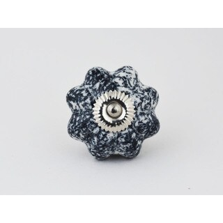 Antiqued Black and White Ceramic Cabinet Knob Set