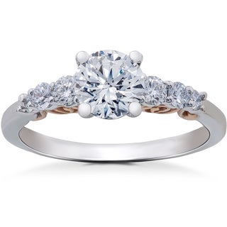 14k White & Rose Gold 1 3/8 ct TDW Diamond Eco Friendly Lab Grown Vintage Engagement Ring (F-G-,SI1-SI2)