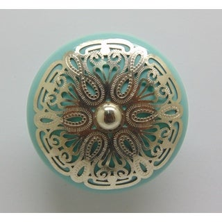Turqupise Silver Filigree Ceramic Knob (Set of 2)