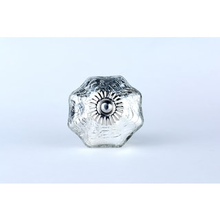 Mercury Silvertone Crackle Glass Knobs (Set of 2)