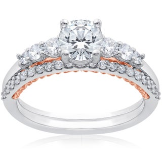 14k White & Rose Gold 1 1/10 ct TDW Lab Grown DiamondEco Friendly Engagement Ring & Matching Wedding Band (F-G, SI1-SI2)