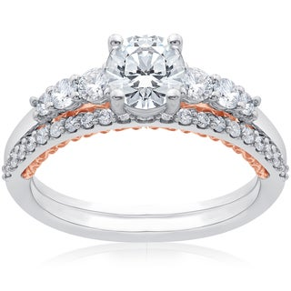 14k White & Rose Gold 1 1/10 ct TDW Lab Grown DiamondEco Friendly Engagement Ring & Matching Wedding Band (F-G, SI1-SI2)