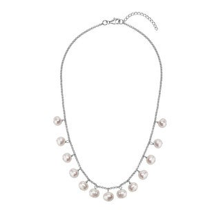 Sterling Silver White Pearl 18-inch Necklace with AA Grade 8- to 9-millimeter Pearls