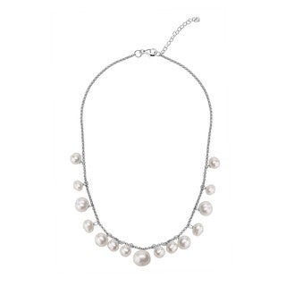 Sterling Silver White Freshwater Pearl Link Necklace