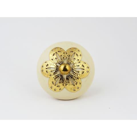Ivory Ceramic and Goldtone Filigree Knobs Set