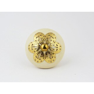 Ivory Ceramic and Goldtone Filigree Knobs Set