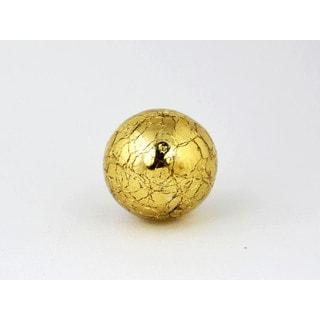 Round Mercury Gold Crackle Glass Cabinet Knobs, 2-piece Set